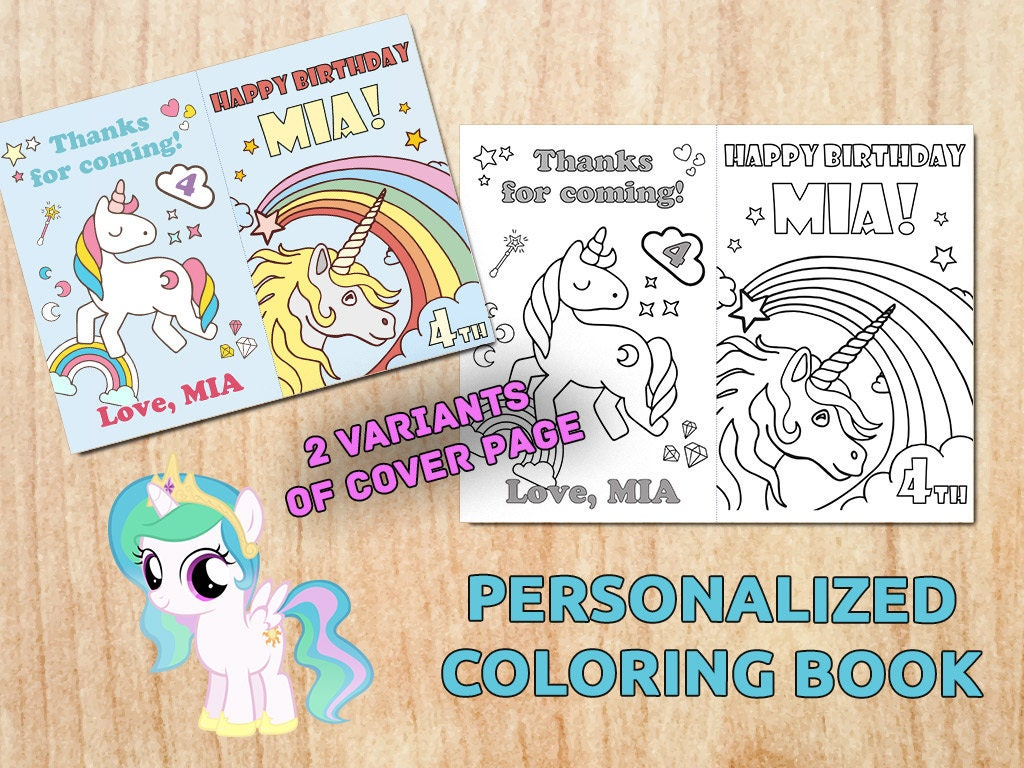 Personalized UNICORN Party Coloring Book Birthday party