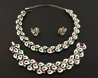 Rhinestone Jewelry Set, Vintage Jewelry, White Enamel, Rhinestone Choker Necklace, Pink Blue Green Yellow Lisner Necklace Bracelet Earrings