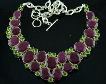 Indian Ruby & Peridot Gemstone Sterling Silver Necklace,Gemstone Silver Necklace