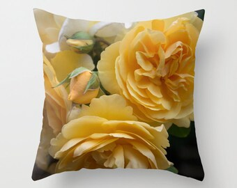 Graham thomas yellow rose pillow, rose photography, rose lover pillow rose cottage decor flower sofa pillow cover rose photo nature inspired