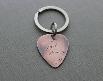 I pick you with date Rustic Guitar Pick keychain, Hand Stamped Copper Guitar Pick, 18g, Inspirational, Gift for Boyfriend, Husband, groom