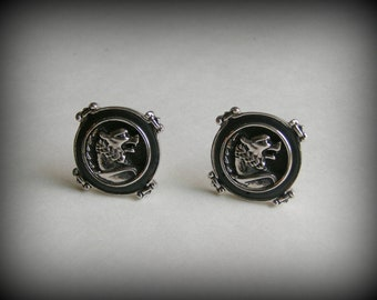 Vintage Mens Swank Black Enameled Dog Cuff Links