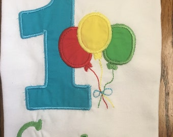1st Birthday balloons shirt!! Boy/or girl color options available! Free name add to all shirts!! Other numbers available