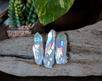 "Set of 3 Rainbow Aura Crystals, 1.5"" -2"" Titanium Aura Quartz Point, Chakra, Reiki, Pagan, Healing Stone, Meditation, Wiccan Altar Supply"