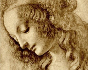European art, Leonardo da Vinci paintings, drawings, Renaissance antique art prints, posters, Woman in profile, Head of a Woman, ART PRINT