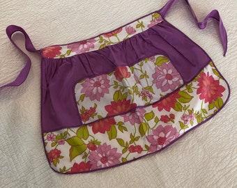 Vintage Apron Half Apron Purple Apron Flowers Salmin Coral Flowers