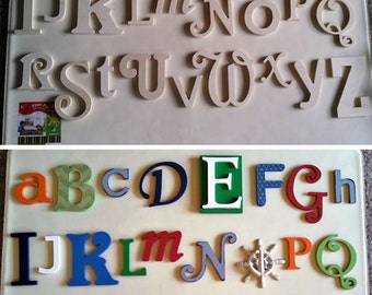 Wooden Letters Wall Hanging Alphabet - Above Crib Letters - Playroom Set Decor - Nursery Wall Art - Wooden Wood Alphabet Letters Full Set