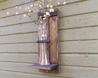 Wood Wall Sconce. Rustic Wall Sconce. Wall Vase Sconce. Vase Sconce. Flower Vase. Farmhouse Decor. Shabby Chic. Wood Sconce. Flower Sconce