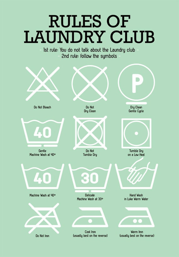Laundry Room Posters Laundry Room Poster With Laundry Pictograms In Light Mint