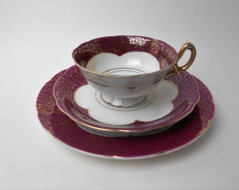 Vintage Teacup, Saucer and Dessert Plate made by EVONIN, Gold & Purple Design