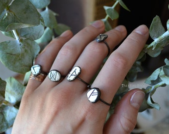 Your Custom Molten Silver Rune Drop Stacker Ring