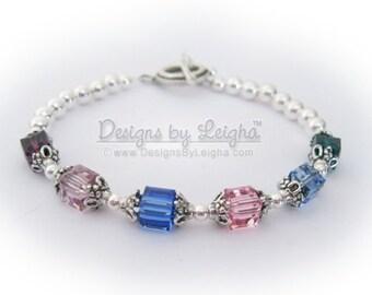 Swarovski Birthstone Bracelet - You CHOOSE Colors & Size