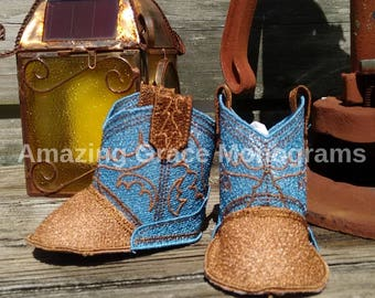 Cowboy boots baby booties