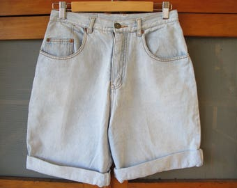 Vintage Light Blue ORIGINAL CUFFED Denim Shorts High Waisted 70s 80s by AMCO ~  28 Inch Waist