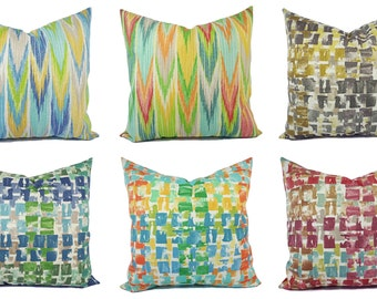 One Outdoor Pillow Cover - Orange and Blue Pillow - Patio Pillow - Outdoor Pillow - Gold Pillow - Grey Pillow - Yellow Pillow - Blue Pillow
