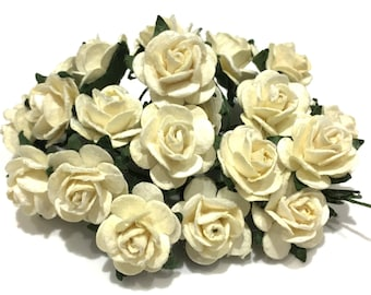 Pale Ivory Open Mulberry Paper Roses Or113