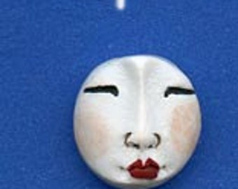 3 White Polymer Detailed  Asian Face  Beads Top drilled WABT 3