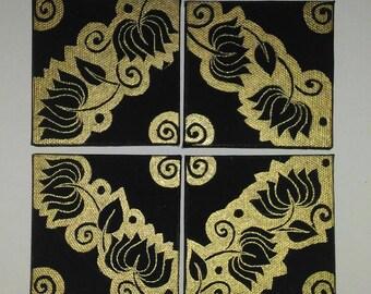 mehndi design / henna design / mehndi painting / bold mehndi design / henna painting / black canvas painting / lotus painting