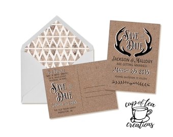 Rustic Postcard Save the Date, Rustic Antler Save the Date, Postcard Save the Date, Rustic Postcard, Save the Date