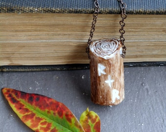 The Lover's Oak Antler Necklace. Genuine Antler Tree Trunk rendition & Carved lovers' Initials True love folktale Romantic Rustic Nostalgic
