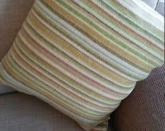 Stylish striped wool cushion