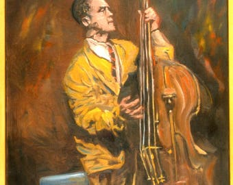 jazz bass large oil painting framed and ready to hang