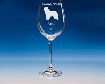 Newfoundland Dog Wine Glass, Personalised, Newfoundland Dog, Newfie Gift, Newfoundland Gift, Dog Lover Gifts, Newfoundland, Dog Gifts