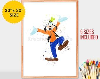 Disney Goofy Watercolor Poster, Wall Decor, Artwork, Watercolor Painting, Home Decor, Kids Decor, Nursery Decor