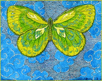 Papillon D'Esprit, Butterfly of the Spirit Archival Hand Made Blank Card