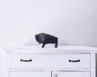 Vintage Large Wood Bison // Hand Carved Figure