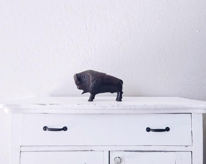Vintage Large Wood Bison // Hand Carved Figure