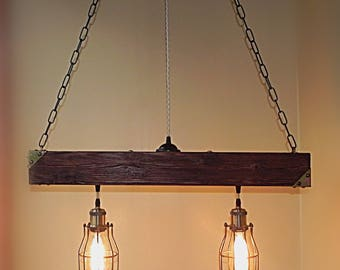 cheap rustic lighting. Handmade Beam Chandelier - Wood Wooden Rustic Lighting Farmhouse Pendant Hanging Lamp Indoor Cheap