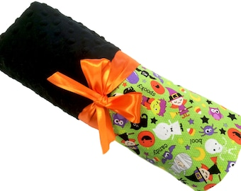 Halloween Blanket with Black Dot Minky Personalization Included