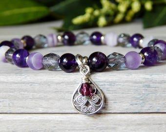 Purple Bracelets, Amethyst Bracelet, Purple Bead Bracelet, Beaded Purple Bracelet, Feminine Bracelet, February Birthstone, Purple Jewelry