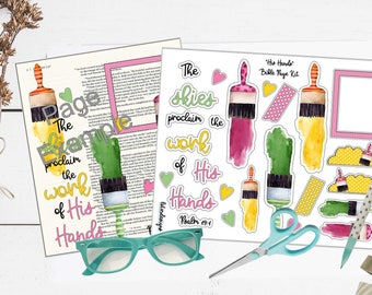 """Printable Bible Journaling Page Kit - """"His Hands"""" - Complete kit for Bible Pages or Journals. Fits all Journaling Bibles."""