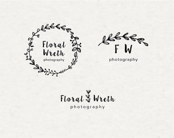 Premade logo set- Floral Wreth Logo- Photography Logo- Blog Logo- Feminine design