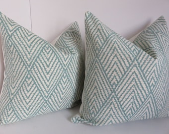 Aqua Pillow covers, Chevron Pillows, Cream Pillow covers, Zig zag Pillow Covers, Ikat Pillows, Teal Pillow Covers, Tahitian Stitch Pillow