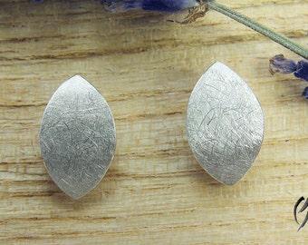 Earrings silver, Navette Matt scraped 12 mm