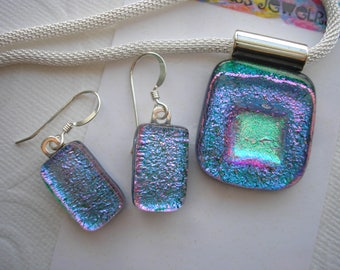 Blue, Green & Violet Necklace and Earrings Set, Silver Earwires and Chain, Fused Dichroic Glass, Matching Pendant and Dangle Earrings