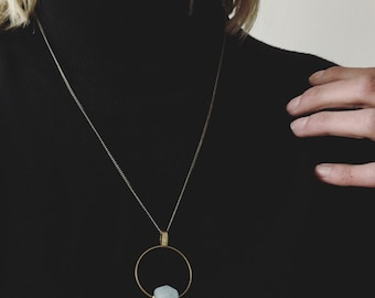 CIVAL Collective - Lina Necklace | Natural Faceted Stone | Handmade Jewelry Design |  Brass and Natural stone
