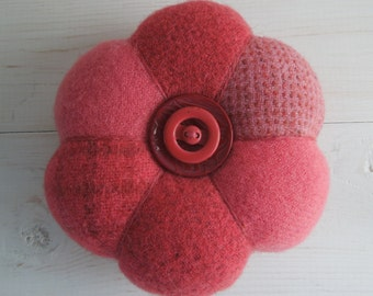 Pincushion - Felted Wool - Coral Pink  - Vintage  Celluloid Button
