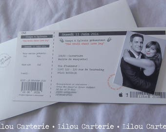 Theme music concert ticket wedding invitation