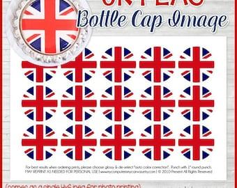 UK FLAG Bottle Cap Image, British Printable, United Kingdom, Inchie, 1-Inch Circle, Union Jack Flag, World Flags -Printable Instant Download