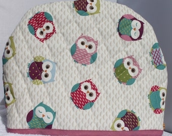 Owl Tea Cosy, Handmade, Owls Tea Cosy, Pinks and Purples, fits large tea pot