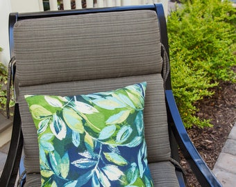 Tropical Outdoor Pillows, Blue Green, Outdoor Pillows, Leaf, Leaves, Pillow, Indoor Outdoor, Patio Decor, Home Decor, Deck Pillow, Bolster