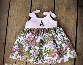 Dress, baby girls, girls easter dress, spring, pink and green, girls coming home outfit, boho outfit, Shelby Jane, monogrammed girls dress