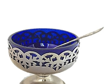 Vintage Silver Plate and Cobalt Glass Salt Cellar |  English Silver and Norwegain C. Bergs 830S Spoon