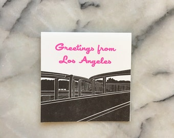 Greetings from Los Angeles Harbor Freeway Greeting Card, Single Card