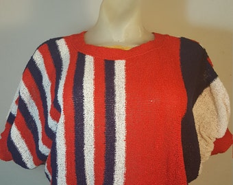 FREE  SHIPPING  Red  White  Blue  Mod Top