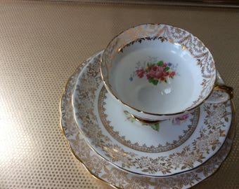 Mismatched bone china tea cup trio